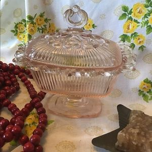 Antique Pink Depression Glass Ornate Candy Dish